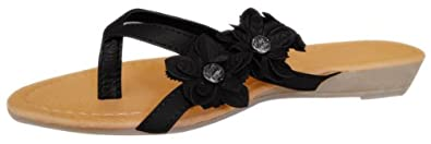 Peach Couture OLIVIA Ladies Open-Toe Flower Strap Dress Wedge Flip Flop Sandal (Black, 10)