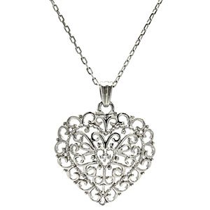 Sterling Silver Heart Filigree Design Heart Pendant w/ Adjustable Chain (27.0 mm x 20.5mm)