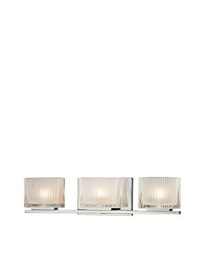 Artistic Lighting Chiseled Glass 3-Light Bath Bar, Polished Chrome As You See
