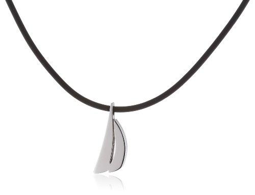 Pure Grey Signs No. 31383 Ladies' Necklace Rubber Cord with Titanium Bayonet Clasp and Titanium Pendant 45 cm