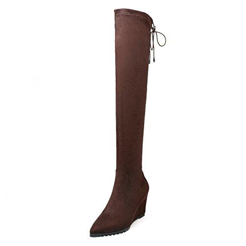 VogueZone009 Donna Scarpe A Punta Alta Altezza Tacco Alto Puro Stivali con Nodo, Marrone, 39