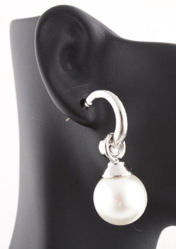 Ladies Silver Dangle Pearl with Half Circle Style Stud Earrings
