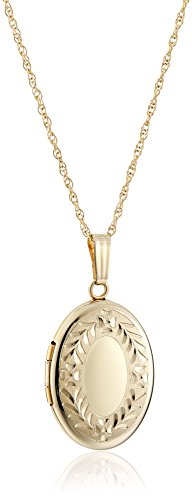 14k Yellow Gold Hand Engraved Oval Lo…