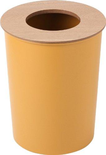 COLOR & WOOD DUST BOX カラー&ウッド シリーズ フタ付き ごみ箱 (イエロー)