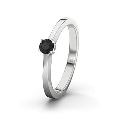 21DIAMONDS Women's Ring Ottawa Black Round Brilliant Cut Diamond Engagement Ring, 9ct White Gold Engagement Ring