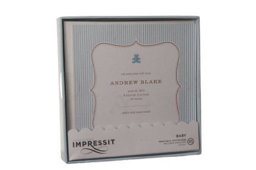 Impressit 25 Baby Blue Printable Shower Invitations/Birth Announcements 5.5