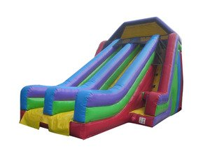 Dry Slide Inflatable 24 Feet High Retro Double Lane Includes 2.0 Hp Blower
