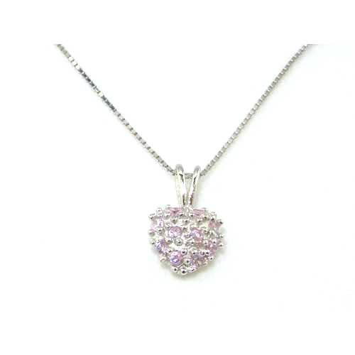 Luxury Ladies Solid 925 Sterling Silver Pink Stone Set Heart Pendant & 16