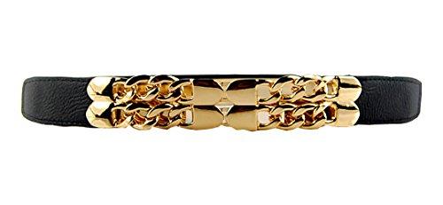 Women Fashion Black Skinny Thin Metallic Gold Mirror Waist Elastic Stretch Belt (Black)
