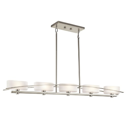 Kichler Lighting 42018NI Suspension 5-Light Linear Pendant, Brushed Nickel Finish with Satin Etched Opal Glass Shades
