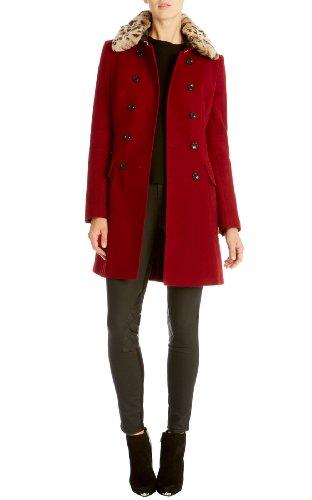 Moleskin coat with faux fur