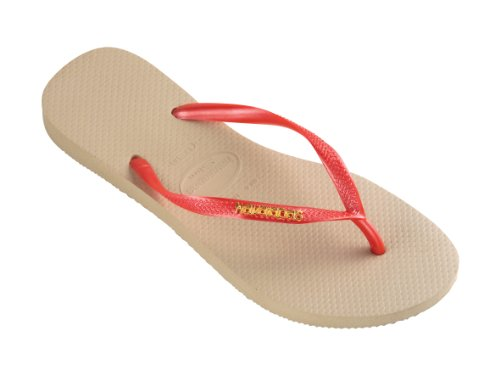 Havaianas Women's Slim Metallic Sand Grey Beige /Red Thong Flip Flop Sandals