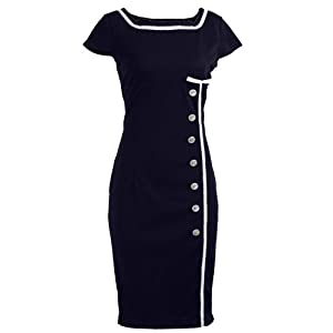 Navy Blue Sailor Nautical Pinup Rockabilly Vintage Retro Pencil Women's Dress - Medium