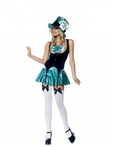 Alice in Wonderland Tea Party Hostess Costume,Green/Black,Medium / Large