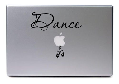 Laptop - Dance With Cute Ballerina Shoes Apple Decal - Matte Black Skins Stickers front-438251
