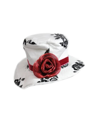 Women's Deluxe White Paisley Mini Top Hat With Red Rose