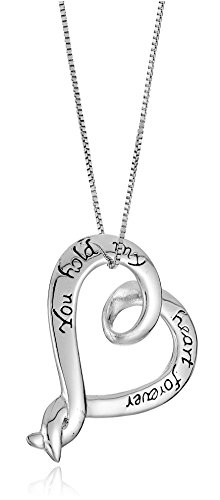 "Sterling Silver ""You Hold My Heart Forever"" Heart Pendant Necklace, 18"""