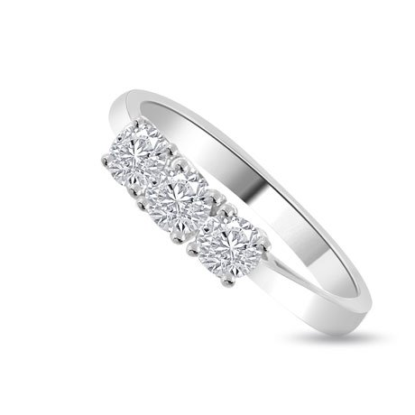 0.60 carat 3 Diamond Trilogy Promise Ring for Women. H/SI1 Round Brilliant Diamond in 18ct White Gold