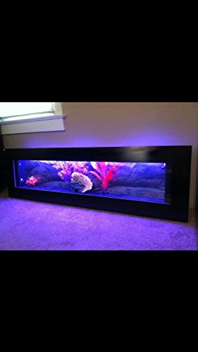 """Wall Mounted Aquarium 60""""X18"""" Black Panoramic, Color Changing Led Lights, Remote Ctrl 50% Off"""