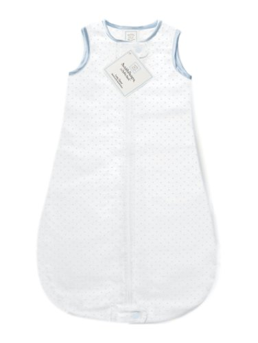 SwaddleDesigns zzZipMe Sack with 2-Way Zipper, Cotton Flannel Wearable Blanket, Classic Polka Dots in Pastel Blue 6-12 Months