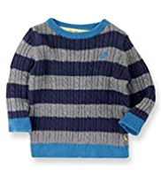 Autograph Cotton Rich Cable Knit Jumper with Angora