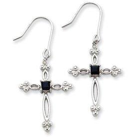 Sterling Silver Diamond Accent CZ Cross Earrings with Shepherd Hooks