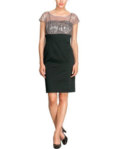 Comma Damen Kleid (knielang) 89.307.82.2384 KURZ Regular Fit, 44, Mehrfarbig (9999 black)