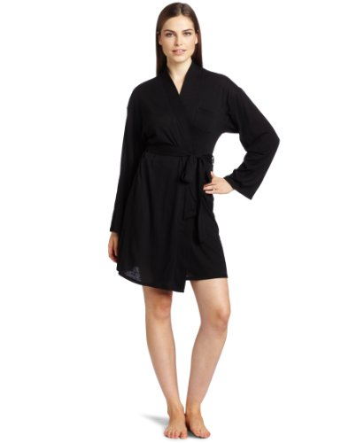 Josie by Natori Sleepwear Women's Kumo Wrap Robe, Black, Medium