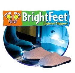 Bright Feet Lighted Slippers- Adult- Beige (Medium)