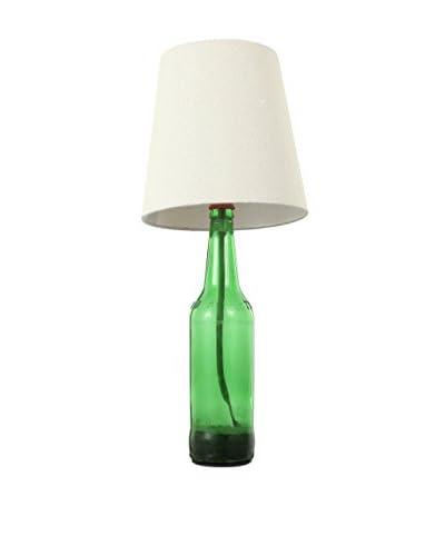 Home Port Beer Bottle 1-Light Lamp, White/Green