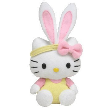 TY Basket Beanie Baby - HELLO KITTY (Bunny w/ Yellow Overalls) - 1