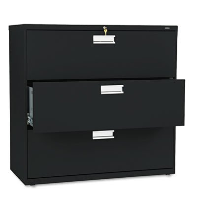 600 Series Three-Drawer Lateral File, 42w x 19-1/4d, Black, Sold as 1 Each