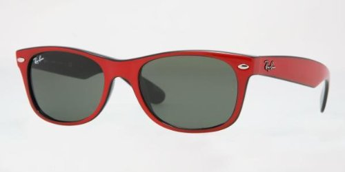 Ray-Ban RB2132 New Wayfarer Sunglasses,Red On Black Frame/G-15 Lens,55 mm