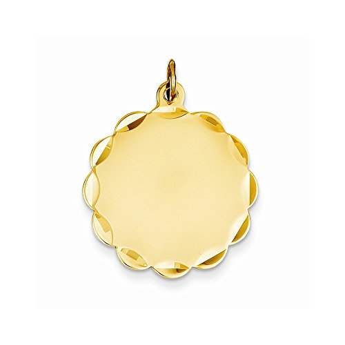 14K Solid Yellow Gold Etched .009 Gauge Engravable Round Disc Charm 20mm x 13mm