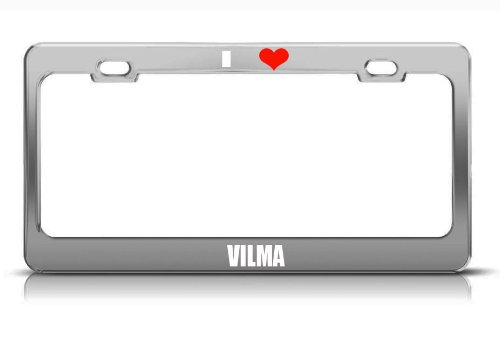 Vilma Name White Chrome Metal License Plate Frame Tag Border