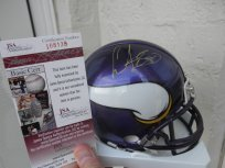 Chris Carter signed Minnesota Vikings mini helmet HOF JSA COA by Riddell