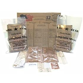 Two (2) Cases of 12 MRE Star Meals Ready to Eat Complete Meal Kits w  Flameless Heaters (for a total of 24 Dinner Meals) - Great for Bugout... by MRE Star