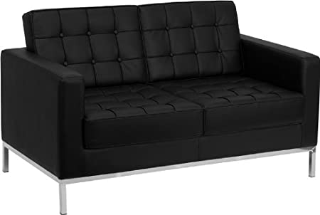 Flash Furniture Lacey Leather Love Seat Black