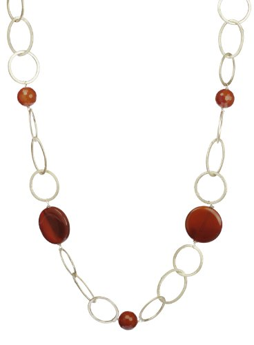 Terra Cotta Dunes Carnelian Accents with Silver Tone Linked Necklace 38