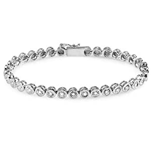 0.75 Carat (ctw) Sterling Silver Real Round Cut Diamond Ladies Tennis Bracelet 3/4 CT (7 Inch Length x 4.8 MM Wide) from DazzlingRock