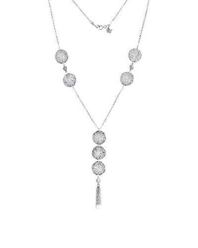 Belcho NB1409S Large Hammered Plates with Cz's and Dangling Chains Long Necklace