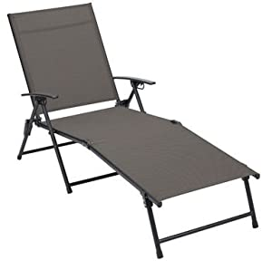 living accents sling chaise folding h x 25 2 w x d tan patio lawn. Black Bedroom Furniture Sets. Home Design Ideas