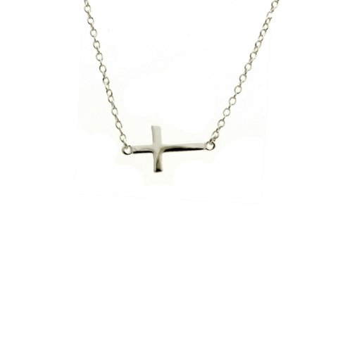 apop nyc Sterling Silver Mini Sideways Cross Necklace 16 inch - 17 inch