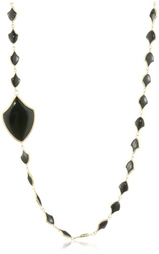 Lauren Harper Collection Midnight 18k Gold and Black Onyx Crest Shape Link Chain
