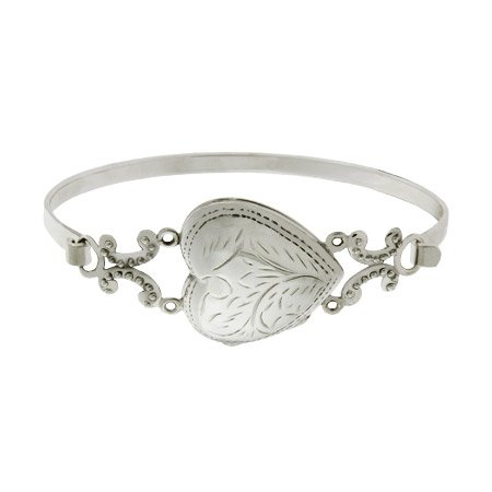 Sterling Silver Heart Locket Bangle Bracelet