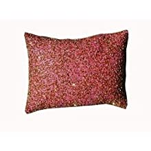Ultra-Snob Rossetto-Coral Glitterati Faux Dupion Cushion Pink