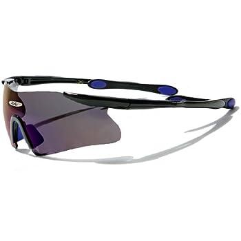 X-Loop Lunettes de Soleil - Sport - Cyclisme - Ski / Mod. 3555 Noir Bleu / Taille Unique Adulte / Protection 100% UV400