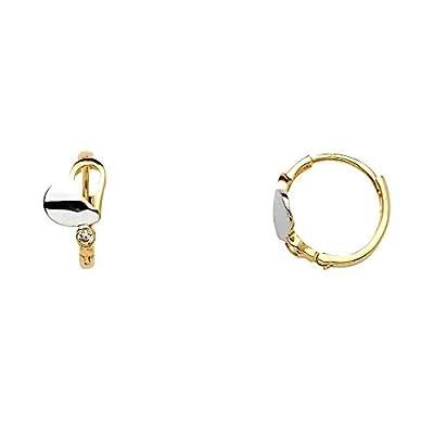 Wellingsale® Ladies 14k Two Tone Gold Polished 6mm Heart CZ Hinged Hoop Huggies Earrings (10 x 10 mm)