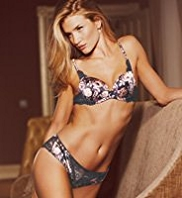 Rosie for Autograph Rose Print Silk Padded Plunge A-E Bra with French Designed Rose Lace