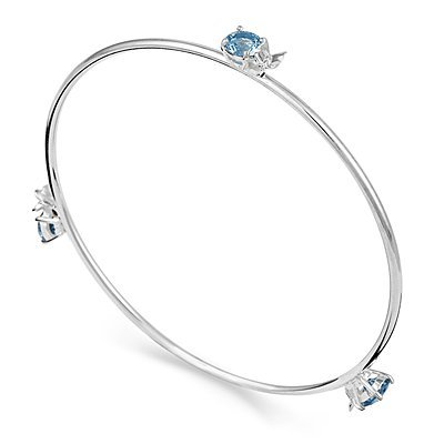 Arm Candy Sterling Silver Butterfly with Blue CZ Bangle